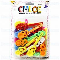 Chloe Barrettes Ribbon Heart with Flower 24Peices Assorted