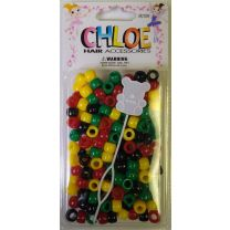 Chloe Hair Bead Round Yellow - Black - Red - Dark - Green
