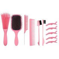 Detangling Hair Brush Set - Pink