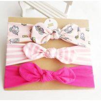 MHS Handmade Hair Dark Pink- Pink - White 3 Pieces