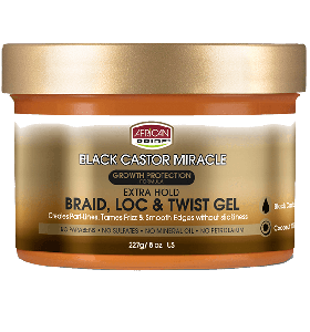 African Pride Black Castor Miracle Extra Hold Braid, Loc, & Twist Gel 227 gr