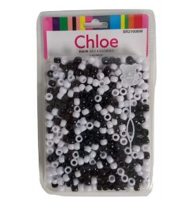 Chloe Hair Bead Round Black - White