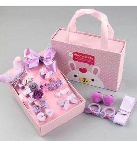 MHS Kids Hair Accessories Purple 18 Pieces