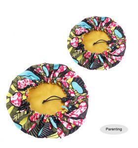 Satin Double Layer - African Ankara Pattern Bonnet Sleep Cap - Yellow Red BlacK