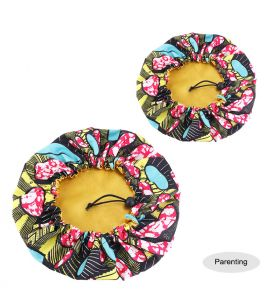 Kids - Satin Double Layer - African Ankara Pattern Bonnet Sleep Cap - Yellow Red BlacK