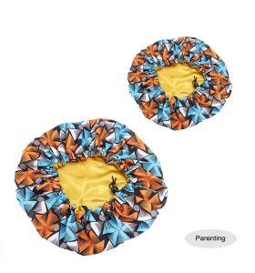 Kids - Satin Double Layer - African Ankara Pattern Bonnet Sleep Cap - Orange Blue F