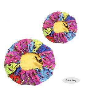 Kids - Satin Double Layer - African Ankara Pattern Bonnet Sleep Cap - Pink Purple C