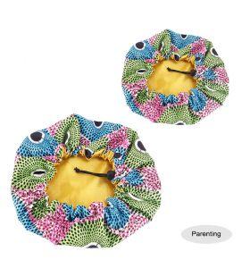 Kids - Satin Double Layer - African Ankara Pattern Bonnet Sleep Cap - POT