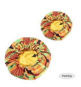Kids - Satin Double Layer - African Ankara Pattern Bonnet Sleep Cap - Yellow Mix D